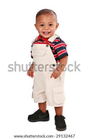 One Year Old Baby Boy Standing Looking on White Background