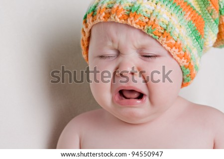 One year old baby cry - stock photo