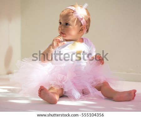 One year old baby girl dressing tutu