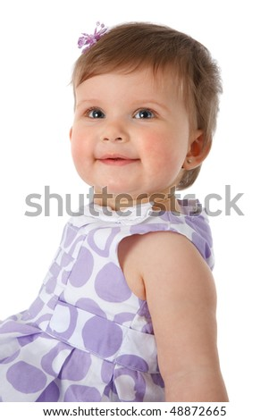 One Year Old Baby Girl Sitting on Floor Smiling Isolated on White Background