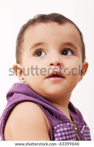 One year old baby over white background - stock photo