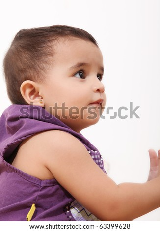 One year old girl profile over white  background - stock photo