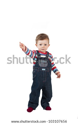 One year old little baby boy isolated on white background included clipping path. - stock photo