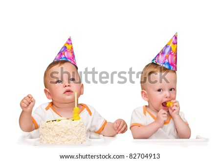 One-year-old twins on the birthday