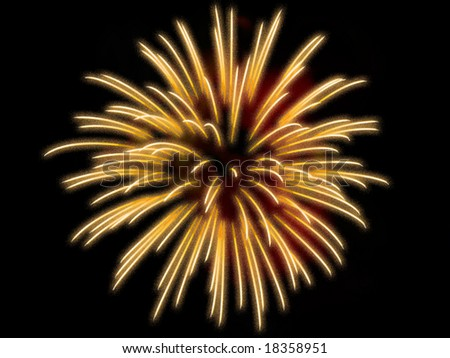One Yellow fireworks on the black background