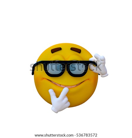 One yellow smiley. Nerd. 3D rendering, 3D illustration