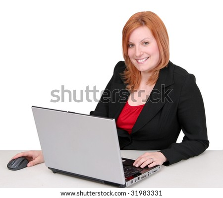 one young adult red haired business lady in black and red over white - stock photo