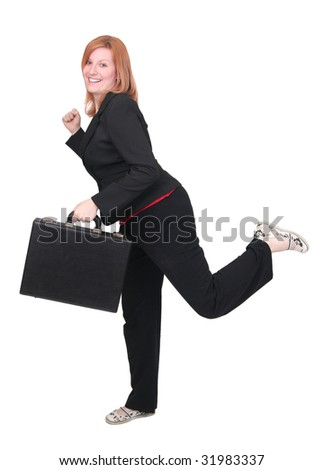 one young adult red haired business lady in black and red over white with briefcase - stock photo