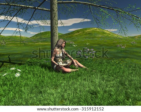 One young girl sits under a green tree surrounded green grass. 3D Illustration, 3D rendering