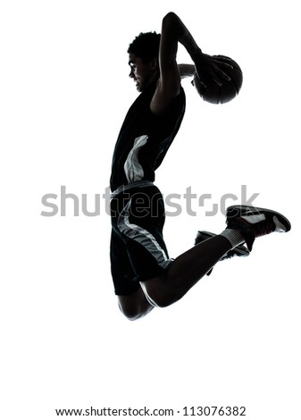 one young man basketball player silhouette in studio isolated on white background - stock photo