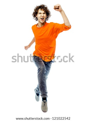 one young man caucasian running  screamming happy front view  in studio white background - stock photo