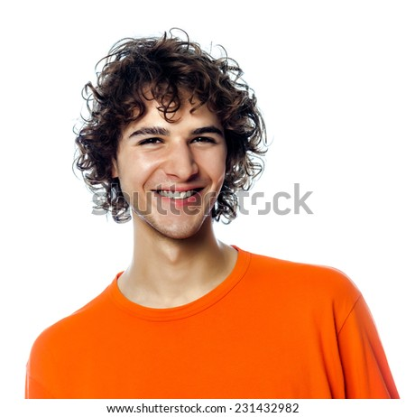 one young man  handsome smiling portrait in studio white background - stock photo