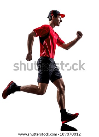 one young man runners joggers running jogging in silhouettes isolated on white background - stock photo