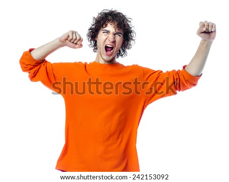 one young man  strong screaming happy portrait in studio white background - stock photo