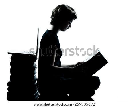 one  young teenager silhouette boy or girl reading full length in studio cut out isolated on white background - stock photo
