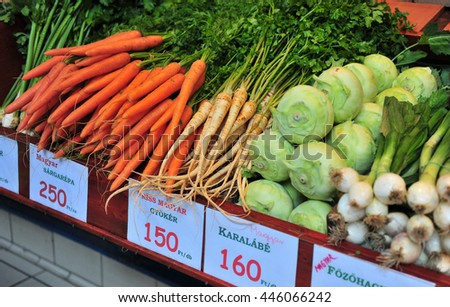 Onion, Cabbage, Carrot with the sign in hungarian language. Main food market of Budapest