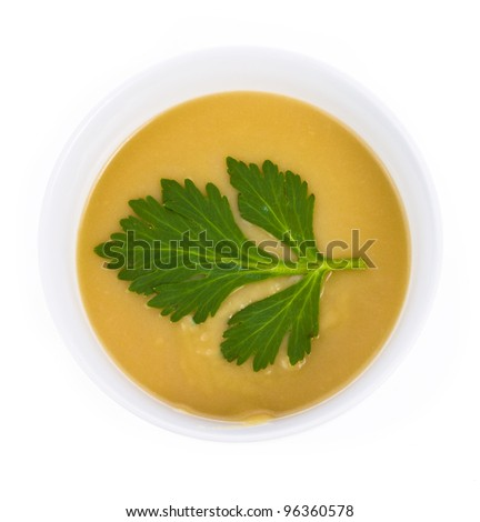 Onion Cream Soup over the white background