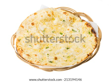 Onion naan - traditional indian bread - stock photo