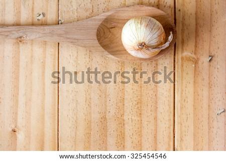 Onion on the wooden spoon - stock photo