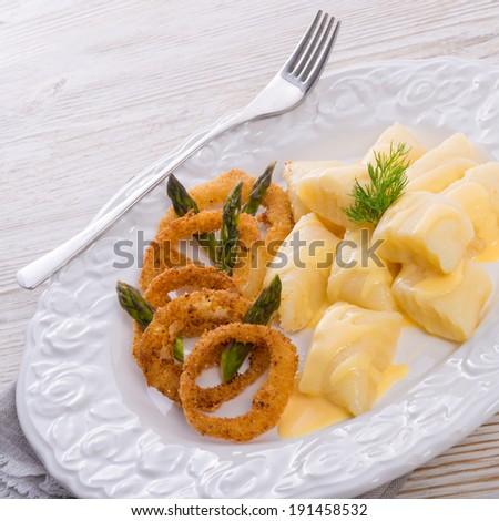 Onion ring white potato dumpling - stock photo