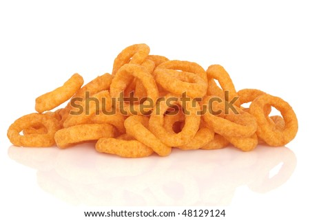 Onion rings, junk food snack, isolated over white background with reflection. - stock photo