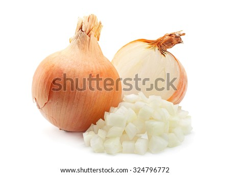 Onion slice closeup isolated on white