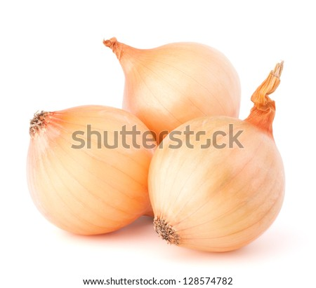 Onion vegetable bulbs on white background cutout