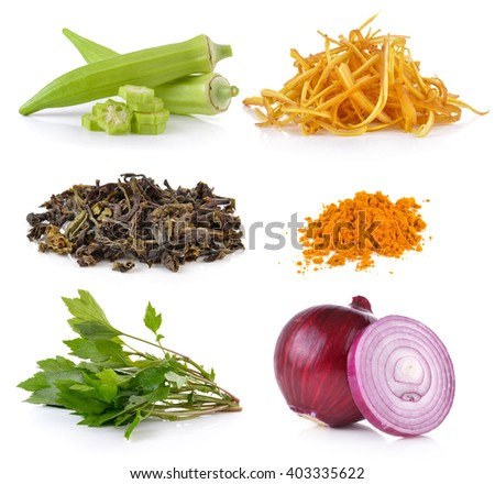 onion, White mugwort, turmeric, green tea, slice Fingerroot, okra on white background - stock photo