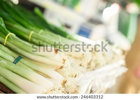 Onions at marketplace. - stock photo