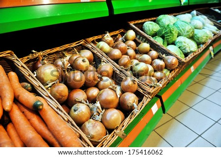 onions at the store - stock photo