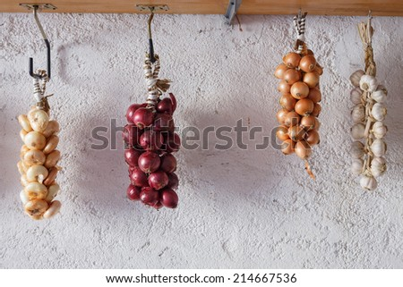 Onions from Cannara, region Umbria, Italy - stock photo