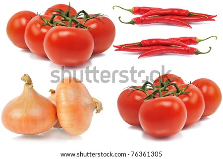 onions, tomatos and red hot chili peppers on isolated background - stock photo