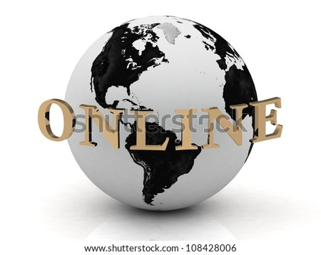 ONLINE abstraction inscription around earth on a white background - stock photo