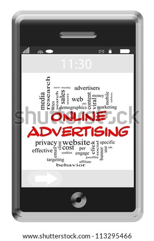 Online Adversiting Word Cloud Concept of Touchscreen Phone with great terms such as viral, website, pay per click and more. - stock photo
