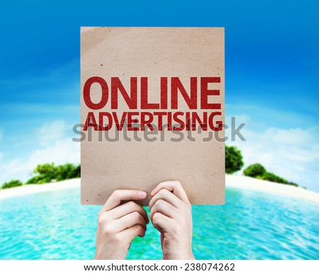 Online Advertising card with a beach on background - stock photo