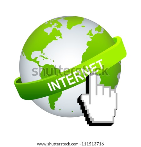 Online and Internet Concept, Green Internet Band Around The World With Hand Cursor Isolated on White Background - stock photo
