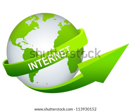 Online and Internet Concept Present By Green Internet Arrow Around The Green World Isolated on White Background - stock photo