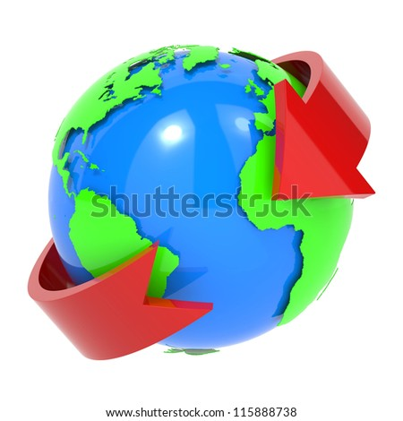 Online and Internet Concept Present By Red Arrow Around The Blue World Isolated on White Background