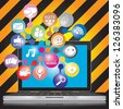 Online and Internet Social Network or Social Media Concept Present By Computer Laptop With Group of Colorful Social Media or Social Network Icon in Caution Zone Dark and Yellow Background - stock photo
