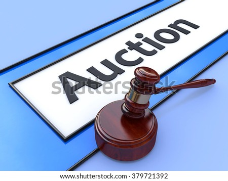 Online auction. Gavel on website marketplace. Conceptual image. 3d in the design of information related to business and trade - stock photo