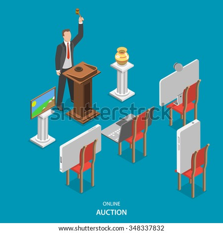 Online auction isometric flat concept. Auctioneer conducts an auction, announcing the lots and controlling the bidding. Instead of purchasers on the chairs are smart phones, laptop and pc monitor. - stock photo
