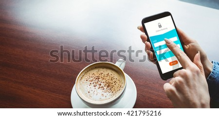 Online banking against woman taking a photo of her coffee - stock photo