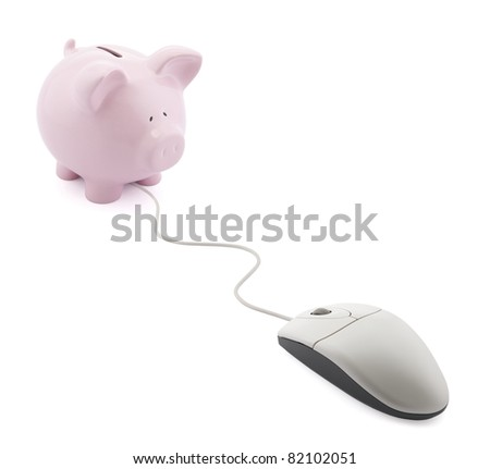 Online banking. Piggy bank with computer mouse - stock photo
