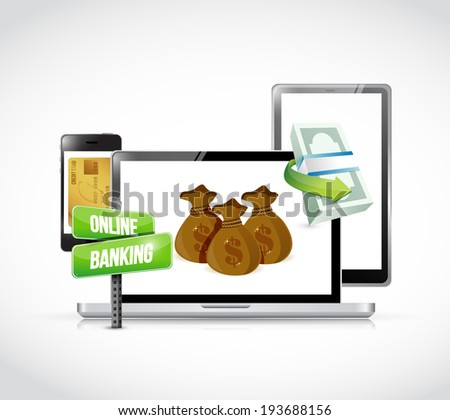 online banking technology business concept illustration design over a white background - stock photo