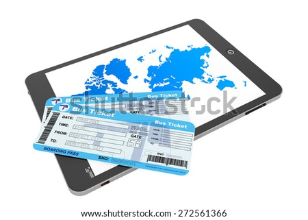 Online booking concept. Tablet PC with Bus tickets on a white background
