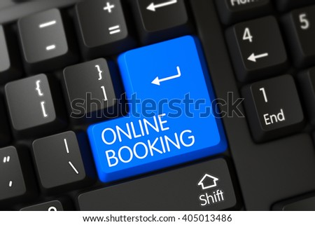 Online Booking on PC Keyboard Background. Online Booking Key on Modern Laptop Keyboard. Online Booking Close Up of Computer Keyboard on a Modern Laptop. Blue Online Booking Button on Keyboard. 3D. - stock photo