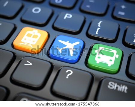 Online booking  tickets to train, bus or airplane. Laptop keyboard, 3d - stock photo