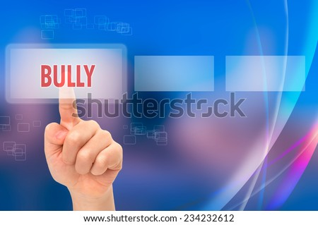 Online bully between children concept with a virtual touch screen - stock photo