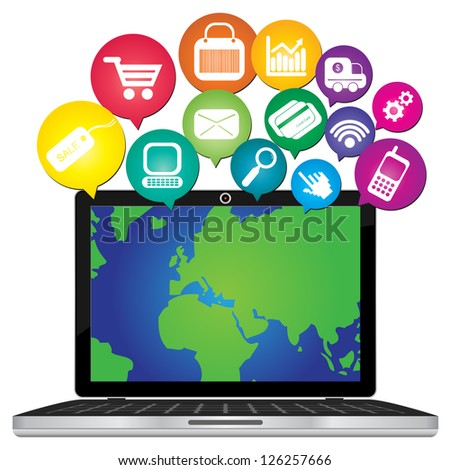 Online Business and E-Commerce Concept Present By Computer Laptop With World Map in Screen and Group of Colorful E-Commerce Icon Above Isolated on White Background - stock photo