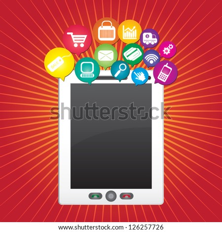 Online Business and E-Commerce Concept Present By Tablet PC With Blank Screen For Your Own Text Message and Group of Colorful E-Commerce Icon Above in Red Shiny Background